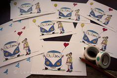 Greeting card Love Bus von Ladedesign auf Etsy Vw Camper, Hippie Man, Roadtrip, Illustration, Greeting Cards, Poster, Etsy, Vintage, Graphic Prints