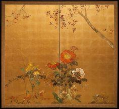 Japanese Screen: Floral Landscape on Gold