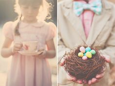 Lovely idea for spring/Easter photos... birds-nest & chocolate candy eggs!