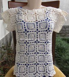 Olá hoje trouxe mais uma blusa em crochê, squares de abacaxis. O trabalho requer muita atenção e paciência... mas vale a pena, o efeito dos ...