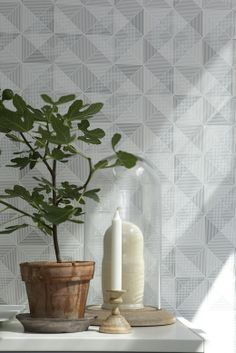 Brewster Dabria Grey Geometric Wallpaper Sample - The Home Depot Grey Wallpaper Designs, Contemporary Wallpaper, Geometric Wallpaper, Designer Wallpaper, Small Space Interior Design, Interior Design Living Room, Cb2 Furniture, Wallpaper Samples, Wallpaper Ideas