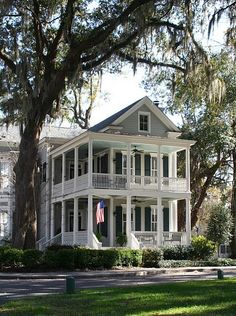 Love this beautiful southern home with a two story porch!