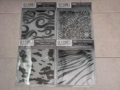 New Lot of 4 x Crafters Companion Textures Elements 8 x 8 Embossing F RRP £32.00 #CraftersCompanion
