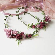 The flower crowns with green leaves, roses, apple blossom and ranunculus. All my crowns and pieces are made with love and care. Due to the flexible design of wreath individually adapts to the shape of the head. Ready to ship. Lightweight and durable. The item will be gift packed. My