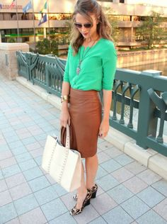 Green silk shirt with brown leather pencil skirt and leopard pumps