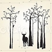 Deer Wall Decal - Silhouette in the Forest - evgieNev