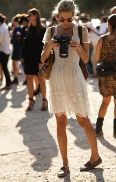lacey dress and loafers! This would be so cute with Sperry's!