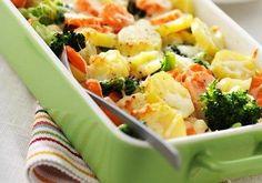 Broccoli- och morotsgratäng med kotlett