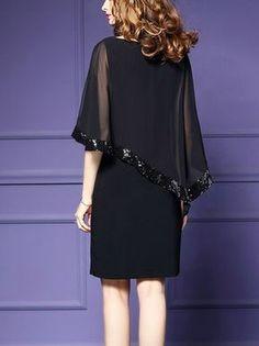 Plus size elegant burgundy sequins asymmetric cape sleeve sheath chiffon dress – Artofit Trendy Dresses, Elegant Dresses, Plus Size Dresses, Nice Dresses, Casual Dresses, Short Dresses, Formal Dresses, Midi Dress With Sleeves, Chiffon Dress