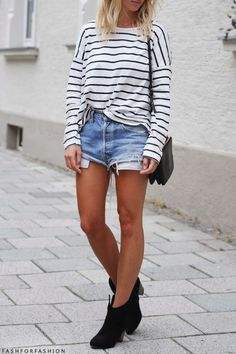 Love this casual style, high waist cutoff shorts, slouchy long sleeve striped shirt. Great combination! Women's teen spring fashion style outfit clothing