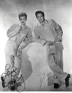 """Lucy and Desi in their his and hers pajamas that they wore so many times on """"I Love Lucy""""."""