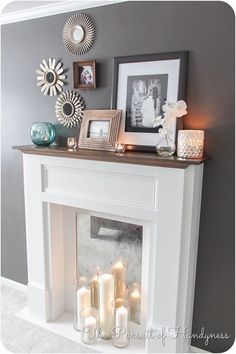 Faux Fireplace Mantle Diy/cover up the existing fireplace hole with a mirror and put candles in front of it Home Living Room, Living Room Decor, Apartment Living, Urban Apartment, Living Room Ideas Without Fireplace, Living Spaces, Faux Mantle, Diy Casa, Home And Deco