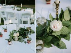 Corey combined greenery and florals to create Hannah's centerpieces. Vintage gold candlesticks were used as accents, and guests were treated to miniature potted succulents for their favor. | Photo by Jonas Seaman Photography