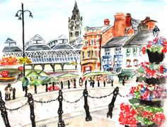 Darlington Town Centre, Water colour painting and Fine Liner