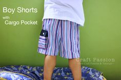Get the boy shorts pattern and tutorial on how to sew a cargo pocket out from a sleeve cuff and add to a boy shorts or pants. – Page 2 of 2