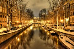"***The Leidsegracht in Amsterdam on a snowy night by ""Arlette Reloaded"""
