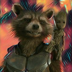Rocket the raccoon and baby groot.