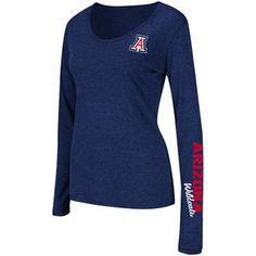 Arizona Wildcats Ladies Athena Scoop Neck Long Sleeve T-Shirt - Navy Blue