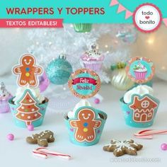 Dulce Navidad: wrappers y toppers Cupcakes, Desserts, Food, Christmas Labels, Wine Tags, Fairy Cakes, Goodies, Merry Christmas, Tailgate Desserts