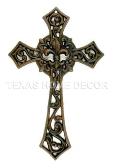 Cast Iron Decorative Wall Cross Fleur De Lis Rustic Brown Finish 12.5x8 inches
