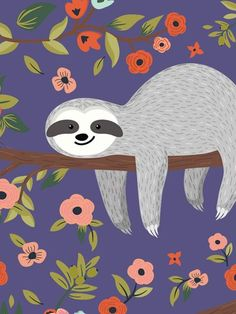 Sloth Tier Wallpaper, Animal Wallpaper, Iphone Wallpaper, Cute Baby Sloths, Cute Sloth, Cute Images, Cute Pictures, Sloth Drawing, Illustrations