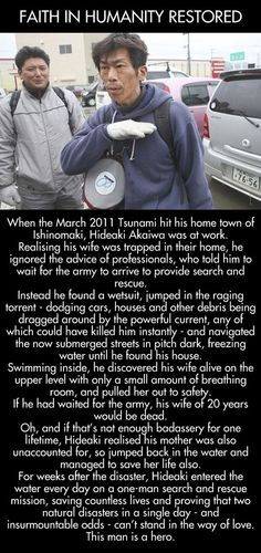 Tsunami hero saves his wife and countless lives.