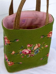 vintage tapestry upcycling, vintage needlepoint upcycling, tapestry bags, needlepoint bags,