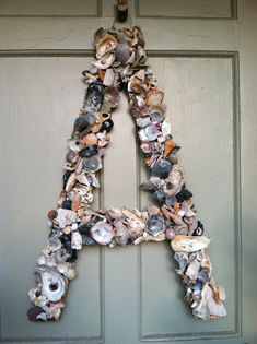 Shell Wreath, custom made, beach, coastal, sea shell, wall art, wedding initial, beach decor