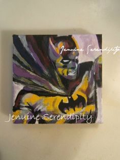 3x3 inch canvas acrylic Batman painting  by jenuineserendipity, $49.00