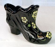 Fenton Hand Painted Paisley Slipper in Black Glass Ceramic Shoes, Glass Ceramic, Glass Shoes, Shoe Boots, Shoe Bag, Glass Animals, Fenton Glass, China Mugs, Glass Slipper