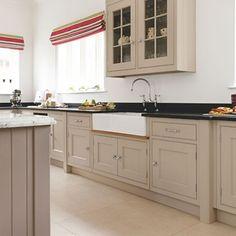 kitchen with double butler sink Neutral kitchen with black granite worktop Taupe Kitchen Cabinets, Kitchen Units, Kitchen Tops, New Kitchen, Kitchen Black, Black Granite Kitchen, Birch Cabinets, Smart Kitchen, Kitchen Paint