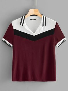 To find out about the Contrast Striped Color-block Tee at SHEIN, part of our latest T-Shirts ready to shop online today! Polo Tees, Houndstooth Dress, Latest T Shirt, Women's Summer Fashion, Fashion Black, Pulls, Women's Fashion Dresses, Fashion News, Fashion Fashion