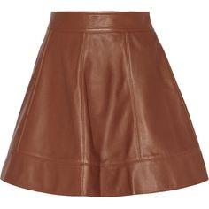 Michael Kors Collection Plonge leather mini skirt (9.838.010 IDR) ❤ liked on Polyvore featuring skirts, mini skirts, michael kors, brown, brown leather skirt, leather skirt, leather zipper skirt, short skirts and leather miniskirt