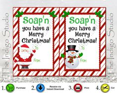Hand Soap Gift Tag - Digital Printable 4 Different Designs neighbor, classroom and family gift Tags Soap'n you have a Merry Christmas Christmas Soap, Neighbor Christmas Gifts, Neighbor Gifts, Christmas Quotes, Christmas Gift Tags, Christmas Crafts, Xmas, Christmas Ideas, Christmas Traditions