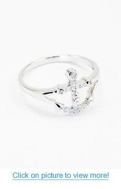 Delta Gamma Sterling Silver Anchor Ring with Simulated Diamonds // Delta Gamma Sorority Jewelry // Initiation Gifts // Delta Gamma Anchor Anchor Rings, Anchor Jewelry, Cute Jewelry, Jewelry Rings, Jewelery, Jewelry Accessories, Man Made Diamonds, Lab Created Diamonds, Argent Sterling