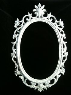 Gloss White Oval  Picture Frame Mirror  Shabby Chic Baroque Gothic Victorian. $40.00, via Etsy.