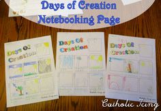 Creation notebooking pages- free to print! A version for writers, and another version for pre-writers. Also, crafts and links to teaching kids about creation.