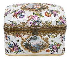 Description: Gilt-bronze mounted Meissen-style porcelain box, late 19th Century 14x18x12 cm crossed swords w/ E C, HC