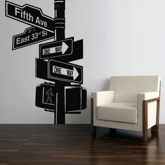 """Use of """"Broadway"""" / St"""" / Ave"""" / etc. Wall Decal Sticker Decor Art Bedroom Road Sign New York Broadway in Home, Furniture & DIY, Home Decor, Wall Decals & Stickers New York Decor, New York Theme, Bedroom Themes, Bedroom Wall, Bedroom Decor, Bedroom Ideas, Broadway Themed Room, Deco New York, New York Bedroom"""