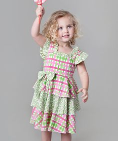 Pink & Green Plaid Tiered Dress - Infant, Toddler & Girls