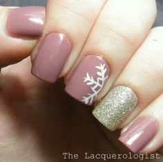 Mauve and gold glitter snowflakes
