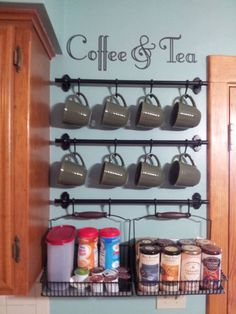 Coffee & Tea Wall Art Decal for Coffee Bar Decor (Decal Only) in Decals, Stickers & Vinyl Art Coffee Nook, Coffee Bar Home, Home Coffee Stations, Coffee Mugs, Coffee Corner, Coffee Shops, Coffe Bar, Coffee Mug Display, Coffee Wall Art