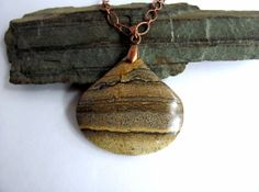 Jasper Stone Pendant Necklace with Copper Handmade by Hendywood, $35.00