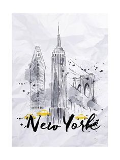 Watercolor New York skyscrapers, Empire State Building, Brooklyn Bridge in vintage style drawing with drops and splashes on crumpled paper Nyc Drawing, New York Drawing, Building Drawing, Building Art, New York Painting, New York Buildings, New York Landscape, New York Architecture, Watercolor Kit