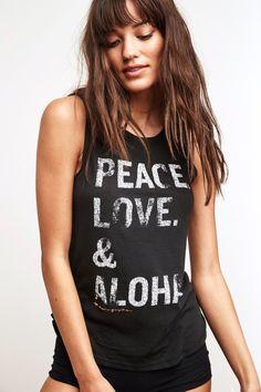 Peace Love Aloha Stacked Muscle Tank