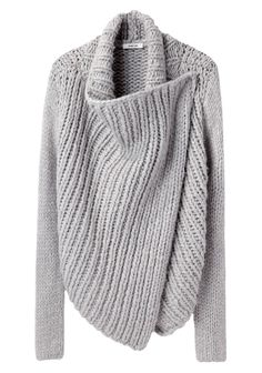 Luxurious open-front long sleeved cardigan with draped lapel. $550