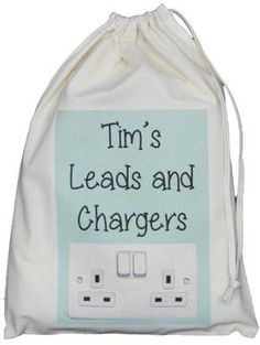 PERSONALISED - LEADS AND CHARGERS DRAWSTRING BAG - SMALL NATURAL COTTON aqua Personalised LEADS AND CHARGERS BAG aqua colour design Small Drawstring
