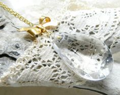 Handmade Upcycled Vintage Chandelier Crystal with Vintage Gold Colored Bow Necklace