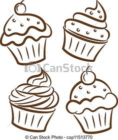 Vector - Cupcake icon in doodle style - stock illustration, royalty free illustrations, stock clip art icon, stock clipart icons, logo, line art, EPS picture, pictures, graphic, graphics, drawing, drawings, vector image, artwork, EPS vector art