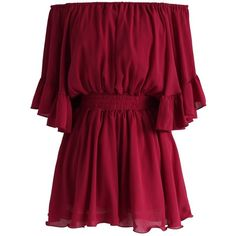 Chicwish Frill Like Dancing Off-shoulder Playsuit in Wine ($51) ❤ liked on Polyvore featuring jumpsuits, rompers, romper, red, red romper, ruffle rompers, bell sleeve romper, off the shoulder romper and red rompers